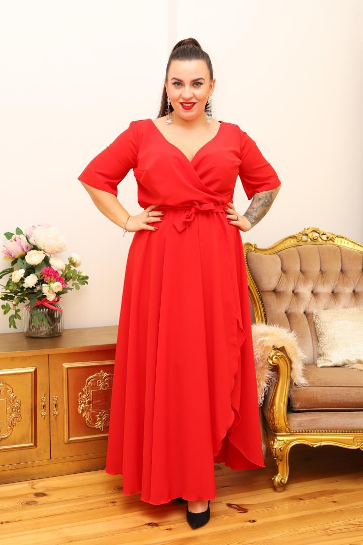 Sukienka Sofija o długości maxi rozkloszowana zwiewna